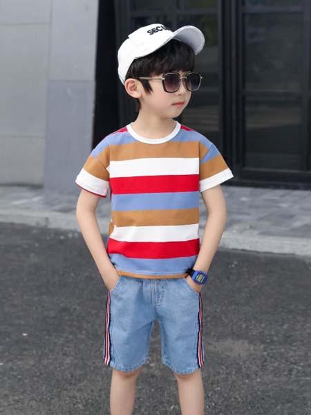 郝月琴童装品牌2020春夏纯棉男童短衣短裤套装两件套