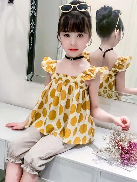 J5J6童装品牌2020春夏女童新款韩版中大童洋气时尚吊带背心儿童夏装时髦两件套