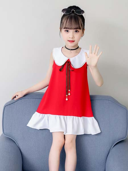 J5J6童装品牌2020春夏新款时尚韩版女童中大童洋气连衣裙夏季儿童女孩娃娃领连衣裙