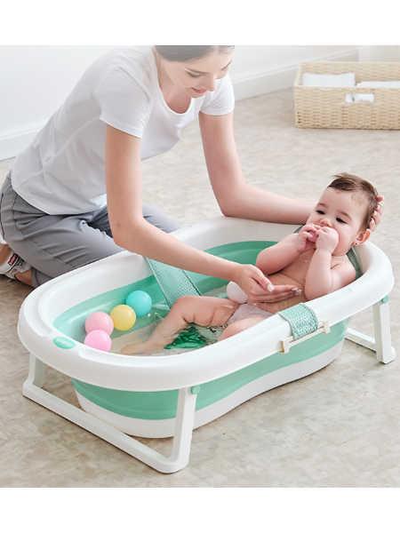 RUSCH婴童用品婴儿洗澡盆婴儿浴盆可折叠 新生儿宝宝洗澡盆 多功能沐浴盆可坐可躺 浴盆+加厚浴垫
