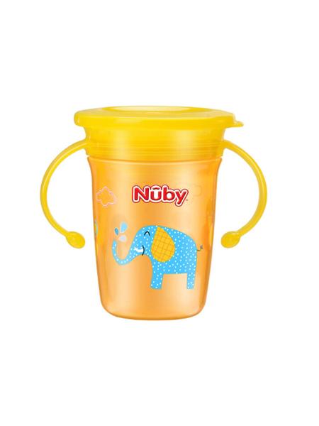 Nuby婴童用品学饮杯婴儿水杯防呛防漏儿童水杯带手柄360度宝宝魔术杯直饮杯 猴子