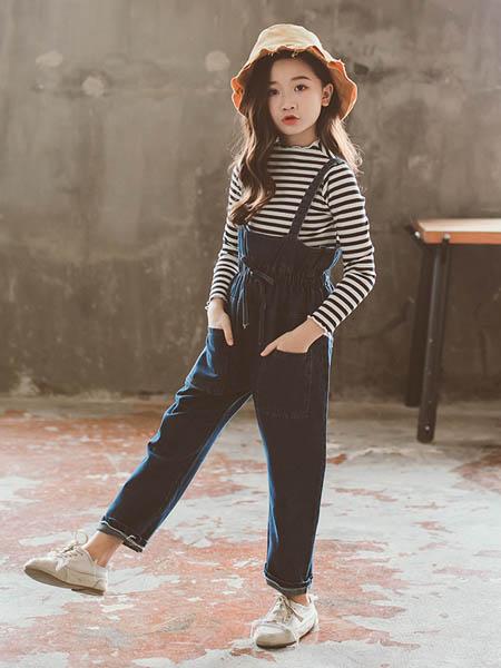 东楠童装品牌2020春夏童装新款女童条纹T牛仔背带裤套装中大童时尚两件套