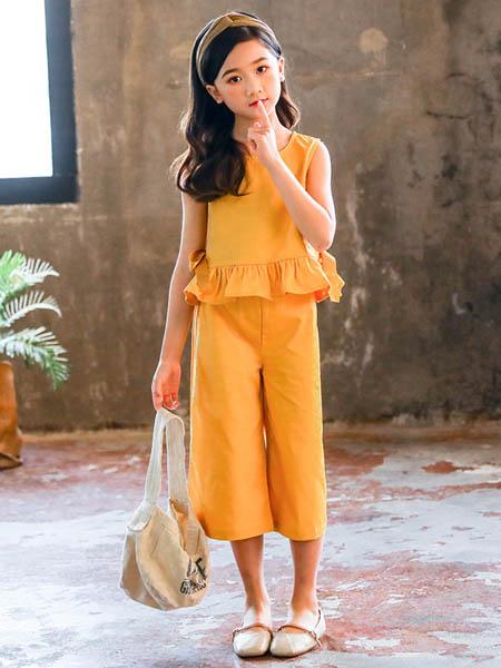 东楠童装品牌2020春夏女童套装新款童装女孩洋气中大儿童背心阔腿裤两件套