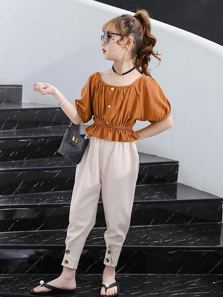 东楠童装品牌2020春夏童装儿童套装女孩插肩袖娃娃衫T恤收脚防蚊裤