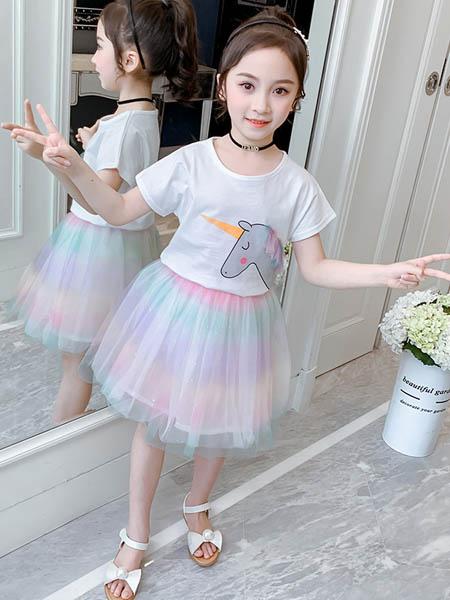 东楠童装品牌2020春夏女童套装女孩印花短袖t网纱半身裙两件套童装