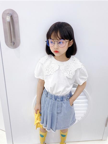 AoAoMao童装品牌2020春夏圆领荷叶蕾丝织花T恤