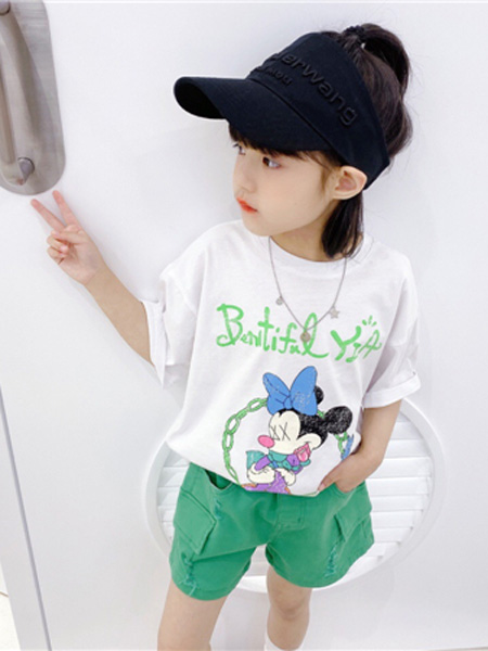 AoAoMao童装品牌2020春夏米奇老鼠白色T恤