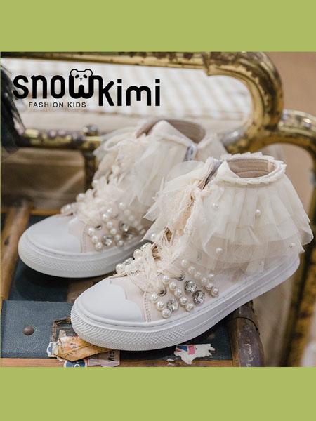 Snowkimi童鞋品牌2020秋季新品帆布网纱板鞋中大童女童鞋舒适软底公主风