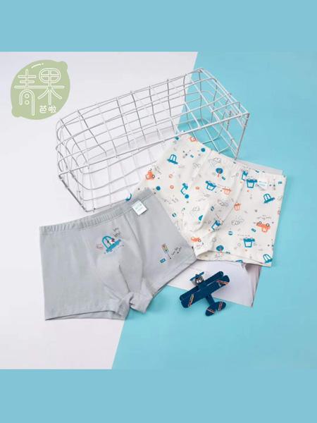 青果芭拉童装品牌2020春夏灰色纯棉四角内裤