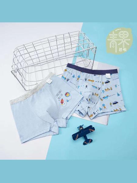 青果芭拉童装品牌2020春夏蓝色纯棉四角内裤