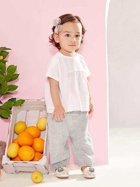 英氏童装品牌2020春夏儿童T恤女童圆领套头上衣休闲夏季新品