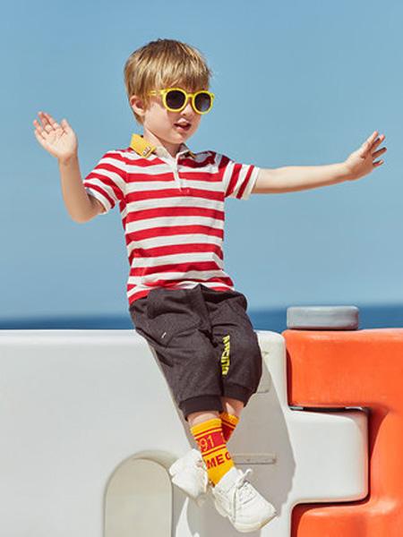 太平鸟童装Mini Peace童装品牌2020春夏夏装T恤翻领短袖polo红白条纹保罗衫