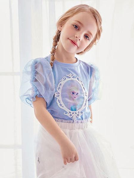 太平鸟童装Mini Peace童装品牌2020春夏爱莎冰雪奇缘泡泡袖T恤短袖洋气