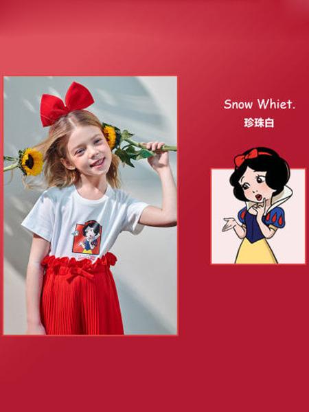 太平鸟童装Mini Peace童装品牌2020春夏迪士尼公主系列女T恤夏儿童短袖洋气
