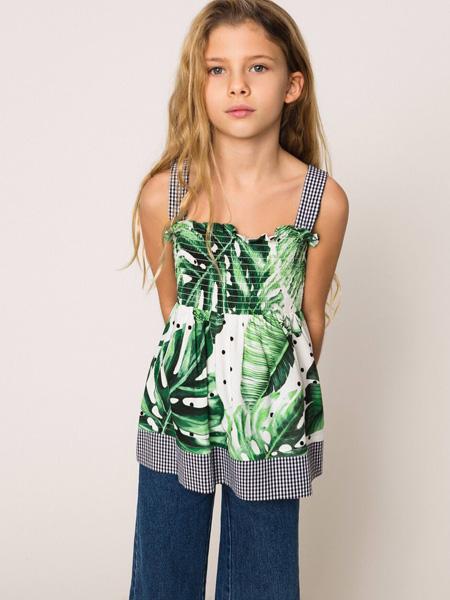 TWINSET童装品牌2020春夏吊带青色树叶上衣