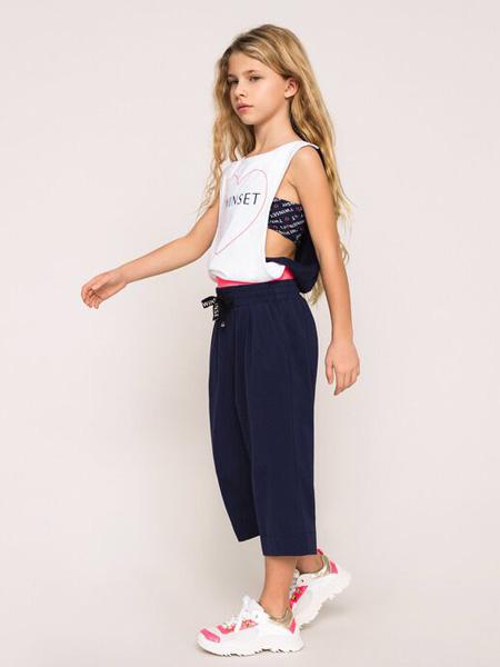 TWINSET童装品牌2020春夏吊带白色T恤藏蓝色长裤