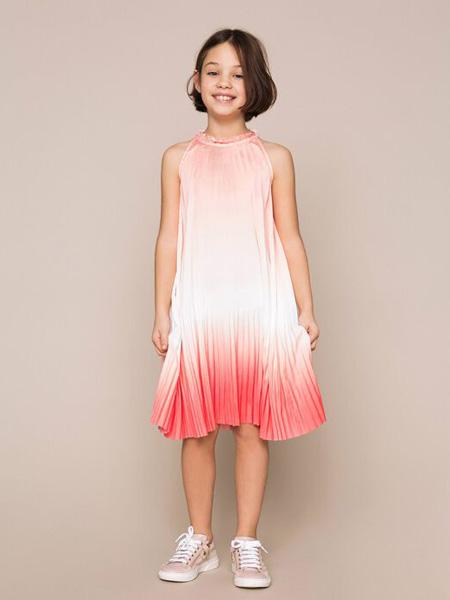 TWINSET童装品牌2020春夏无袖雪纺红色渐变色连衣裙