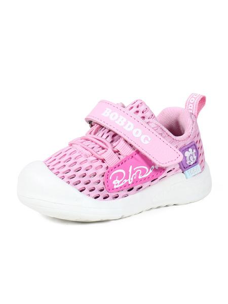 巴布豆童鞋品牌2020春夏紫粉色镂空运动鞋