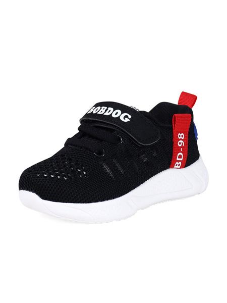 巴布豆童鞋品牌2020春夏黑色网面镂空运动鞋