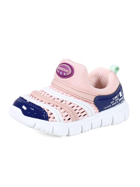 巴布豆童鞋品牌2020春夏浅粉色镂空运动鞋网面