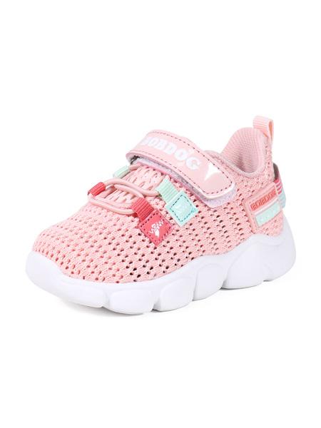 巴布豆童鞋品牌2020春夏果粉色镂空运动鞋