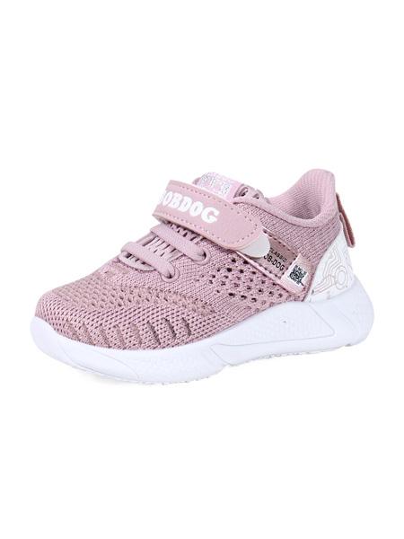 巴布豆童鞋品牌2020春夏灰粉色網面運動鞋透氣