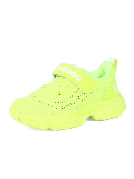 巴布豆童鞋品牌2020春夏靚麗全黃色網面運動鞋透氣