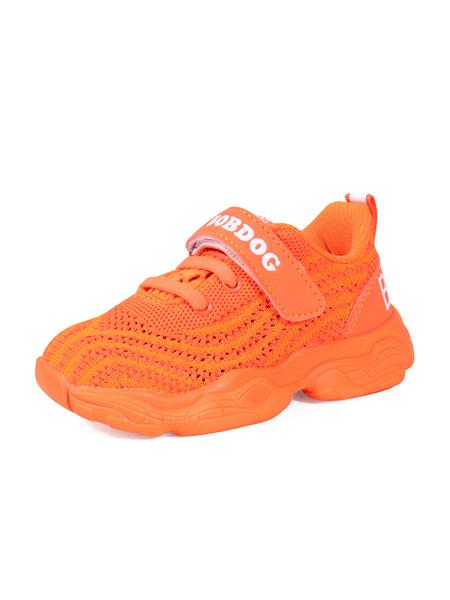 巴布豆童鞋品牌2020春夏橙色全色網面運動鞋透氣