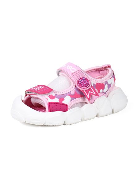 巴布豆童鞋品牌2020春夏紫粉紅色涼鞋