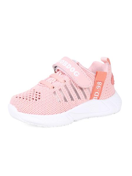 巴布豆童鞋品牌2020春夏橘红色网面运动鞋透气