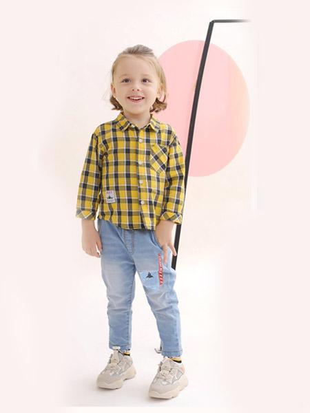 可拉·比特童装品牌2020春夏复古蓝色翻领格纹衬衫