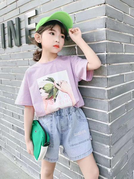 童年永恒童装品牌2020春夏圆领浅紫色T恤