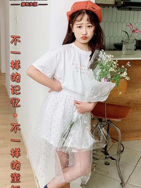 童年永恒童装品牌2020春夏圆领白色T恤