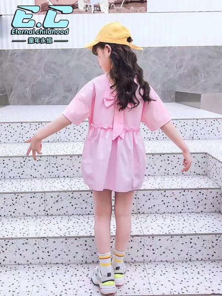 童年永恒童装品牌2020春夏浅粉色连衣裙