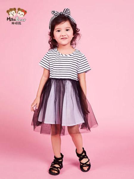 米拉熊童装品牌2020春夏裙子中小女童宝宝韩版夏装黑白条纹短袖连衣裙