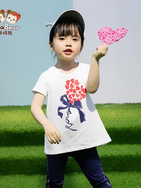 米拉熊童装品牌2020春夏印花短袖T恤透气夏季小女孩宝宝休闲打底衫衣服
