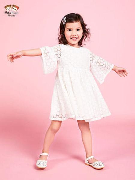米拉熊童装品牌2020春夏连衣裙八分袖公主裙小女孩洋气白色裙子潮