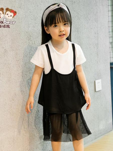 米拉熊童装品牌2020春夏洋气夏季女宝宝洋气夏装短袖T恤短裤两件套网纱