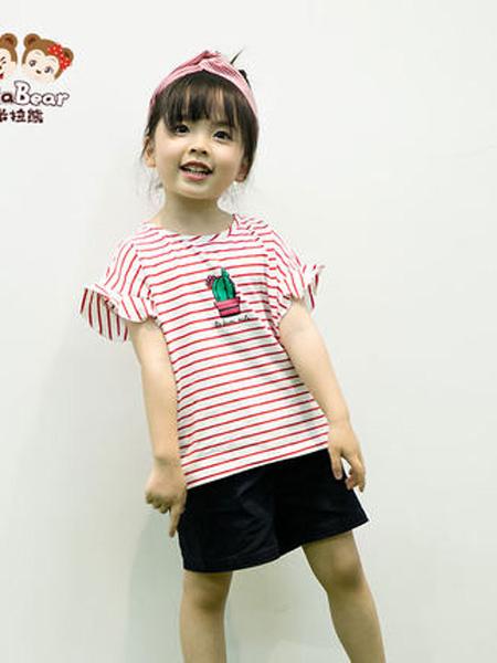 米拉熊童装品牌2020春夏短袖t恤衫新款条纹洋气休闲宝宝女童宽松上衣服夏装