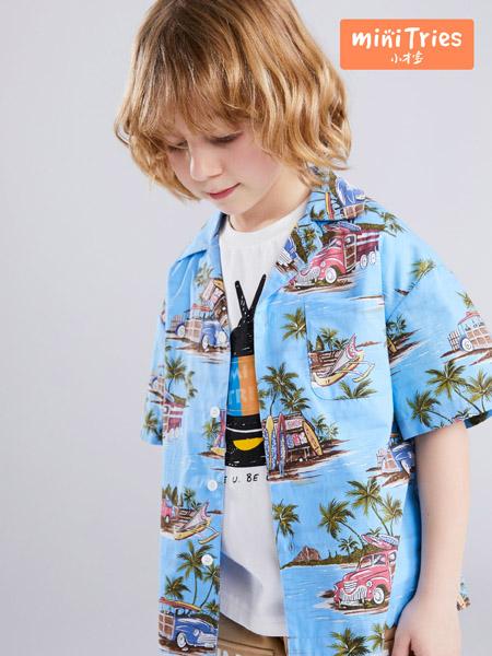 小才宝童装品牌2020春夏蓝色衬衫