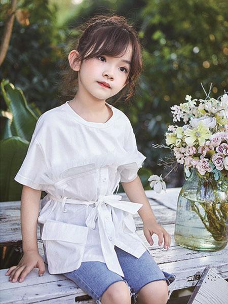 小资范童装品牌2020春夏圆领收腰白T恤
