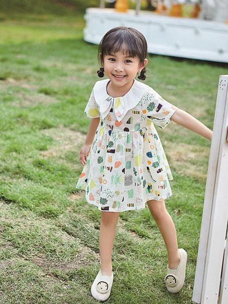 小资范童装品牌2020春夏荷叶领收腰连衣裙