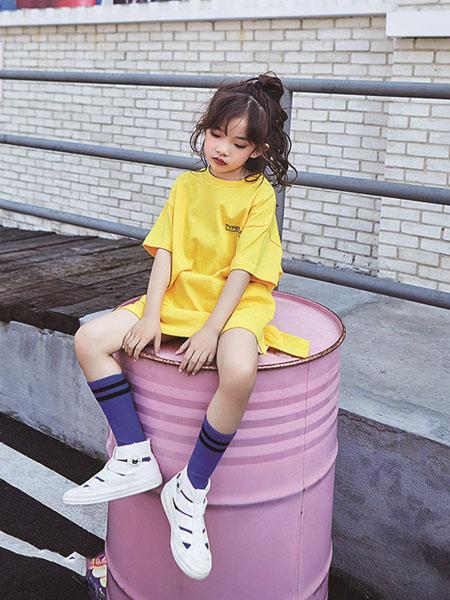小资范童装品牌2020春夏黄色长款T恤