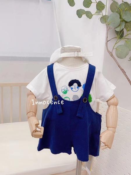 YY童装品牌2020春夏深蓝色背带裤