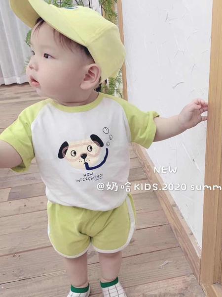 YY童装品牌2020春夏黄色袖白色T恤