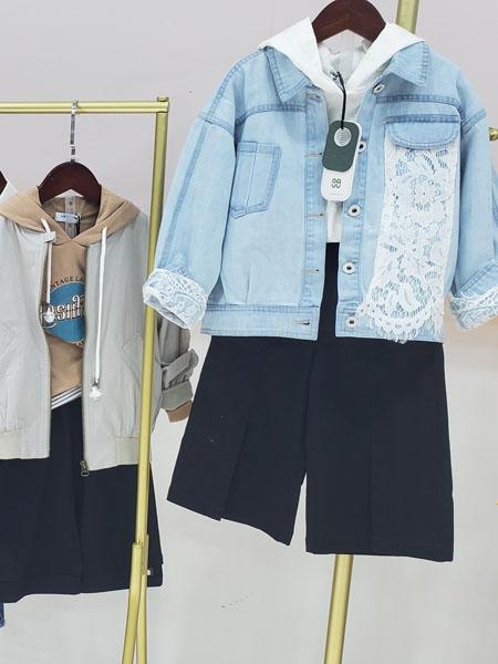 贝熙童装品牌2020春夏牛仔外套藏蓝色短裤