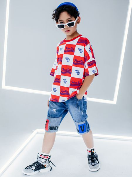 斐杋FRIVEN童装品牌2020春夏方格红白T恤