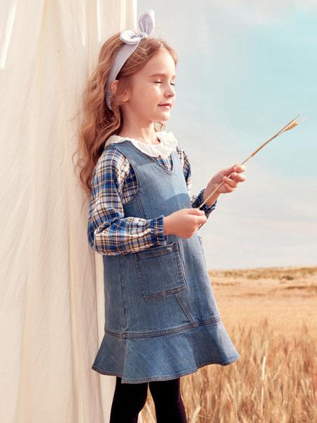 蒙蒙摩米 Mes amis童装品牌2020春灰色牛仔连衣裙