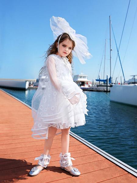 小象Q比童�b品牌2020春夏白色�W��B衣裙