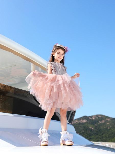小象Q比童装品牌2020春夏粉色无袖网纱连衣裙